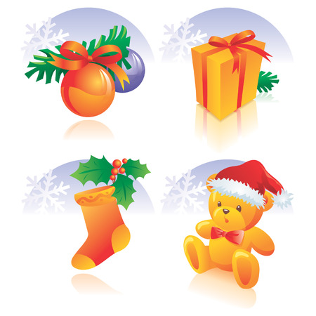 festal: Christmas icon set - decoration, present, sock, holly, teddy bear with hat, snowflake. Vector illustration