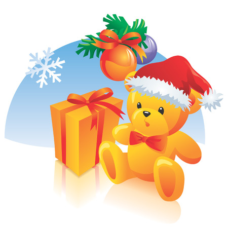 festal: Christmas illustration - decoration, present, teddy bear with hat, snowflake. Vector