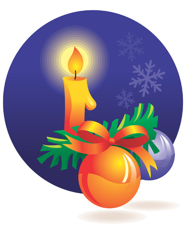 Christmas decoration - candle, baubles, snowflakes. Vector illustration Vector