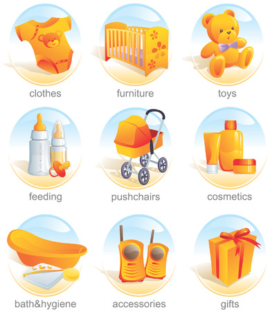 Icon set -  shopping, clothes, furniture, toys, feeding, pushchairs, cosmetics, bath, hygiene, accessories, gifts. Aqua style. Vector illustration Illustration
