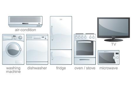 geladeira: Icon set - home appliances: air-condition, washing machine, dishwasher, fridge, oven, stove, microwave, TV. Aqua style. Vector illustration