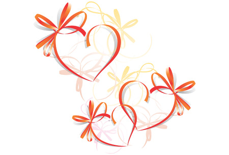 ecard: Heart Ribbon Greeting Card - St Valentines Day. Space for test Illustration