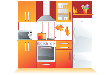 Kitchen furnishing and appliances. Cupboard, built-in oven, stove, microwave, refrigerator, extractor