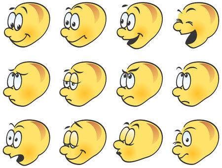 expresiones faciales: Emoticones, iconos, expresiones faciales divertidas. Feliz, enojado, triste, riendo, gui�o, un beso. Ilustraci�n vectorial.