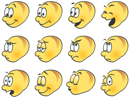 Smilies, icons, funny facial expressions. Happy, angry, sad, laughing, winking, kissing. Vector illustration.