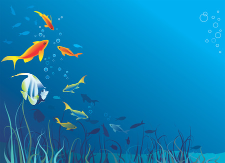 Underwater life, sea. Fish, seaweeds, bubbles. Space for text. Vector illustration