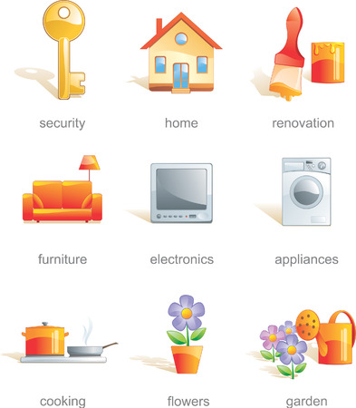 Icon set - home, security, renovation, furniture, electronics, appliances, cooking, flowers, gardens. Aqua style. Vector illustration Illustration