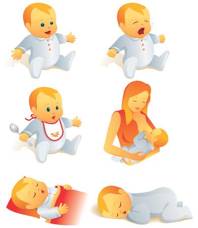 borstvoeding: Icon set - baby's huilen, lachen, eten, slapen, borstvoeding. Vector illustratie. Meer van de serie in portefeuille.