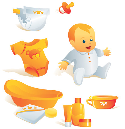 Icon set - baby hygiene. Bath, towel, sponge, bodysuit, nappy, cosmetics, pacifier, pot. Vector illustration. More of the series in portfolio.