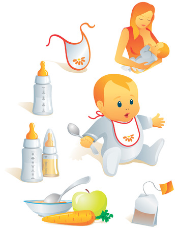 Icon set - baby feeding. Breast-feeding, bib, nursing-bottle, solid food, tea-bag. Vector illustration. More of the series in portfolio. Illustration