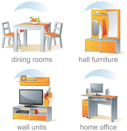 armarios: Icono de conjunto - el hogar muebles, comedores, hall, unidades de pared, oficina en casa. Aqua estilo. Ilustraci�n vectorial, parte 2