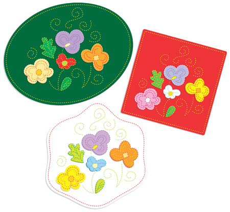 crewel: Embroidered floral ornaments - appliqu� on textile. Green, red, white colors. Vector illustration