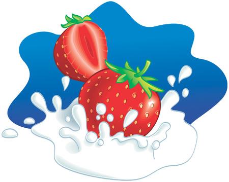 wholesome: Two strawberries splashing in milk, blue background. Vector illustration Illustration