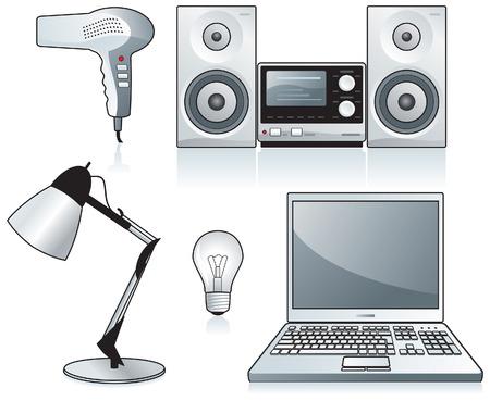Home appliances: hairdryer, stereo, desk lamp, electric bulb, laptop. Stylized Vector illustrations. Illustration