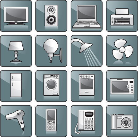 hairdryer: Icon set - home appliances: TV, stereo, computer, printer, lamp, shower, fan, fridge, washing machine, stove, microwave oven, hairdryer, cell phone, telephone, digital camera. Vector illustration