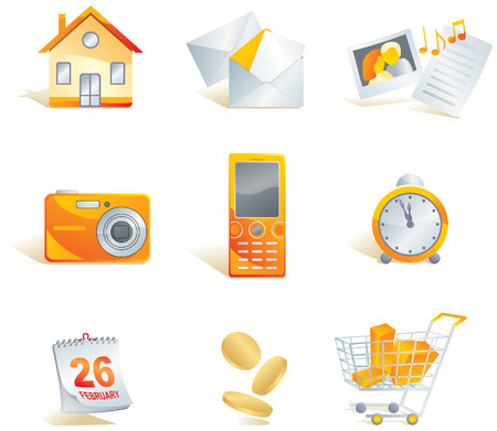 Icon set - web, commerce and electronics items: home, mail, media - images, documents, music, digital camera, cell phone, clock, calendar, money, shopping cart. Vector illustration