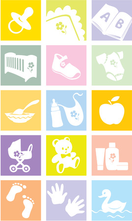 Icon set - baby shopping, clothes, shoes, books, furniture, toys, feeding, pushchairs, cosmetics, bath, hygiene, accessories, bedding.  Vector illustration Vector