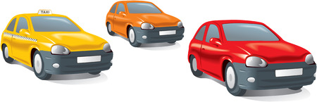 Compact city cars, yellow taxi. Realistic vector illustration. Illustration