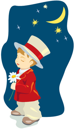 Cartoon retro romantic boy with costume, cylinder and flower under the Moon. Vector illustration Vector