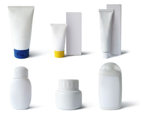 Cosmetics, medical packs and containers: tubes, boxes, flacks. Add text or label.