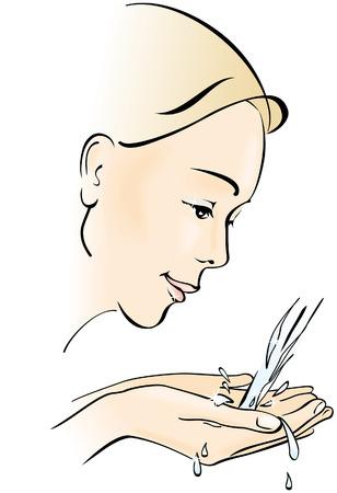 jet stream: Lavar su rostro de mujer joven. Higiene y cuidado. Ilustraci�n vectorial