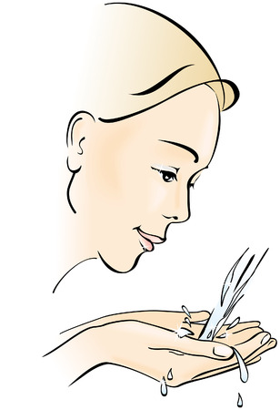water jet: Young woman washing her face. Hygiene and care. Vector illustration
