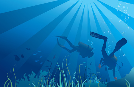 Scuba divers, sea  life. Fish, seaweeds, bubbles. Copy space for text. Vector illustration Illustration