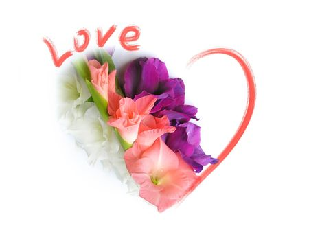 Love Greeting Card - St Valentine - Flowers, Heart Stock Photo - 7069350