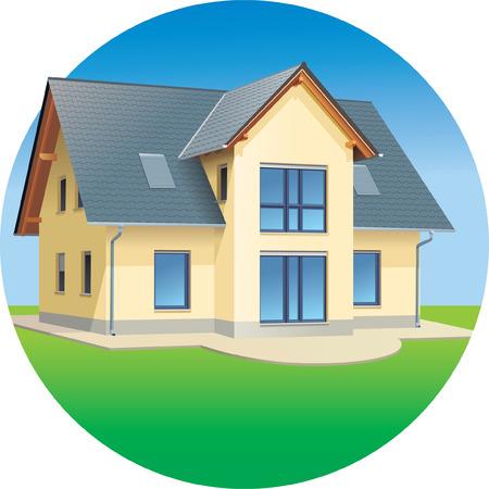 Modern prefabricated family house, illustration Illustration