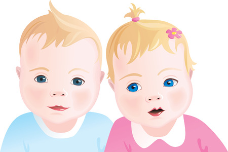 tvillingar: Two Cute babies - boy and girl. illustration Illustration