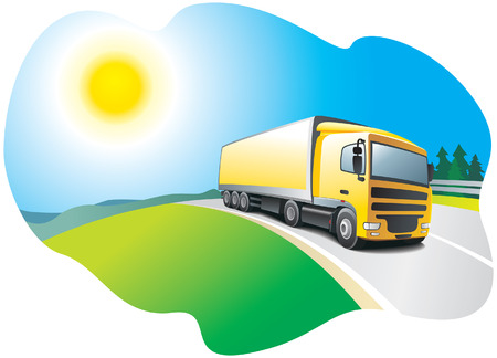 Truck on the road - transport and logistics. Vector illustration