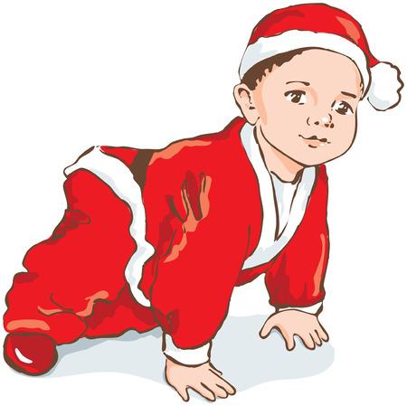 creeping: Enana de Navidad, beb� en traje de Santa rastreros, dibujado a mano.