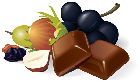 Two chocolate pieces, raisins, grapes and hazelnuts composition.