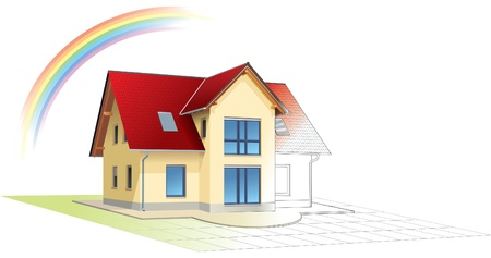 outlined: House from sketch to colorful reality, rainbow. Building, construction, painting.