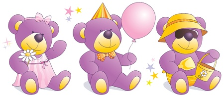 Three funny teddy bears in situations - romantic girl, party guy, cool boy at beach. Vector illustration