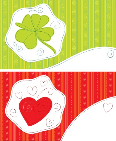 crewel: Greeting cards - Good luck, With love. Patchwork style.  Illustration