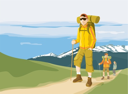 man hiking: Group of three hikers in the mountain - trekking adventure. Vector illustration Illustration