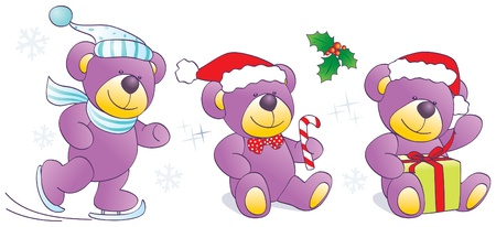 Christmas, winter funny Teddy bears with skates, candy, present. Vector illustration Illustration