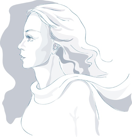 Beautiful woman hand drawn artistic sketch. Profile portrait, wind in hair, scarf. Vector illustration Vector