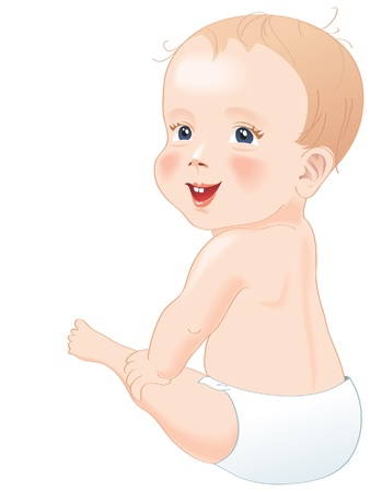 unclothed: Adorable baby in diapers smiling, sitting with back to camera with turned head