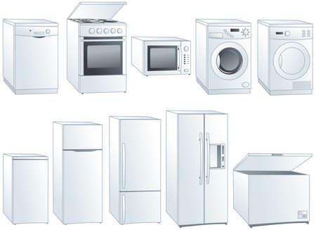 lavaplatos: Aparatos de cocina domésticos: nevera, horno, estufa, microondas, lavavajillas, lavadora, secadora. Vectores