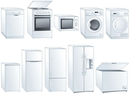 Kitchen home appliances: fridge, oven, stove, microwave, dishwasher, washing machine, dryer.  Illustration