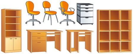 Office furniture set - desk, office chairs, bookcase, commode, shelves illustration objects  Illustration