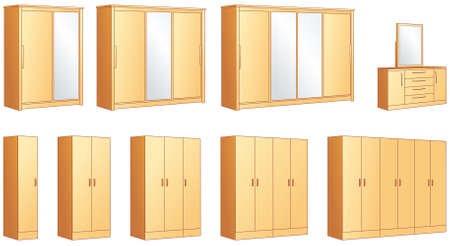 Bedroom furniture - modular wardrobes and dressing commode with mirror illustration objects Vector