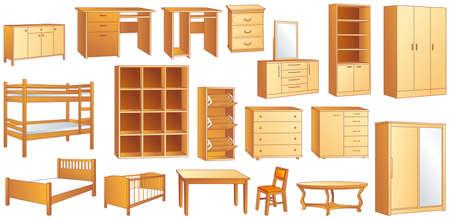 ladenkast: Houten meubilair set: commode, boekenrek, dressoir, stapelbed, bed, kinderbed, schoen geval, stoel, tafel, bureau, kast illustratie