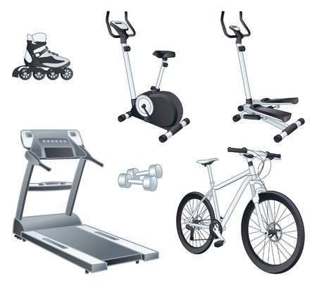 Fitness and sport equipment:  rollers, stationary bicycle, stepper, treadmill, dumbbells, bicycle.  Vector