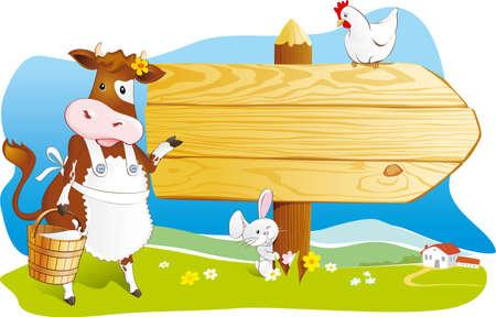 Vache mignonne de bande dessinée avec le lait, le lapin et la poule pointant panneau en bois