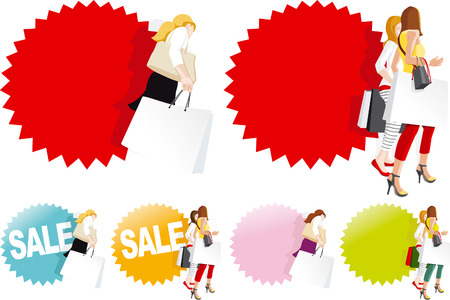 Fashionable shopping women in store, Sale sign   Stock Vector - 22277871