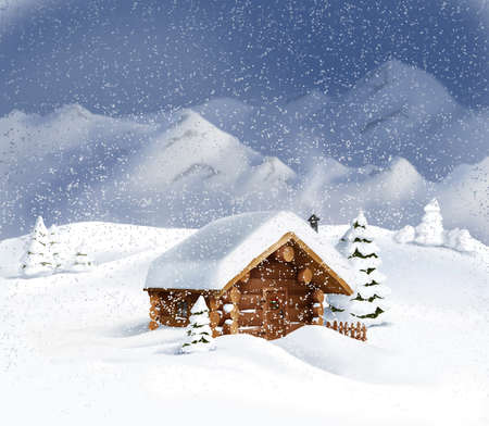 snow covered mountain: Christmas winter landscape - wooden hut, snow, pine trees, mountains  Copy space, illustration Stock Photo