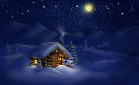 log cabin in snow: Christmas night winter landscape - wooden hut, lantern, snow, pine trees, Moon, stars  Copy space, illustration Stock Photo